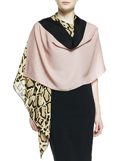 Gucci Lotti Leopard-Print Silk Shawl, Beige/Old Rose