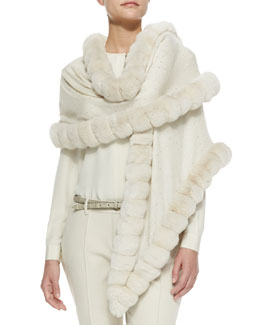 Loro Piana Oval Chinchilla Fur Crystal Wrap, Vanilla Ice