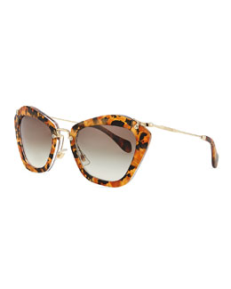 Miu Miu Pentagon Acetate Sunglasses, Yellow Tortoise
