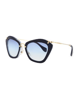 Miu Miu Pentagon Acetate Sunglasses, Dark Blue