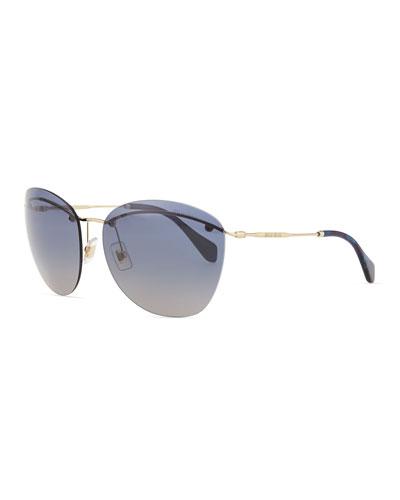 Miu Miu Phantos Sunglasses, Light Blue