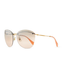 Miu Miu Phantos Sunglasses, Pink/Gray