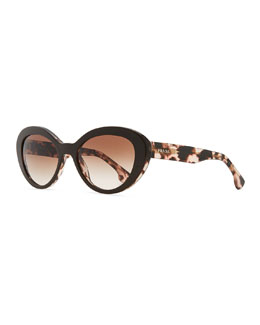 Prada Round Logo-Temple Sunglasses, Brown