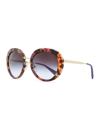 Prada Round Thin-Temple Sunglasses, Violet