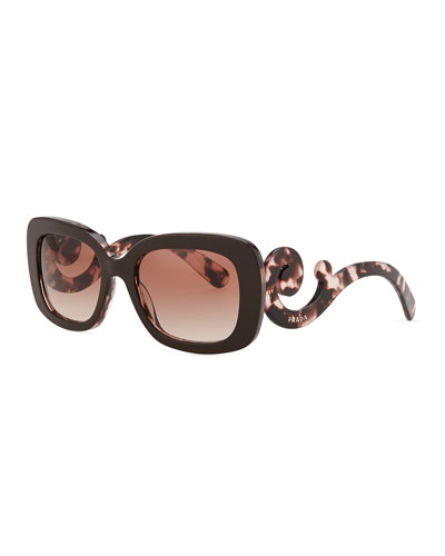 Prada Square Baroque Sunglasses, Brown