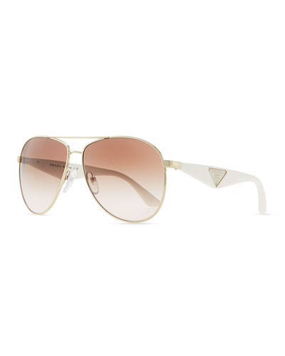 Prada Double Bar Aviator Sunglasses, Gold/White
