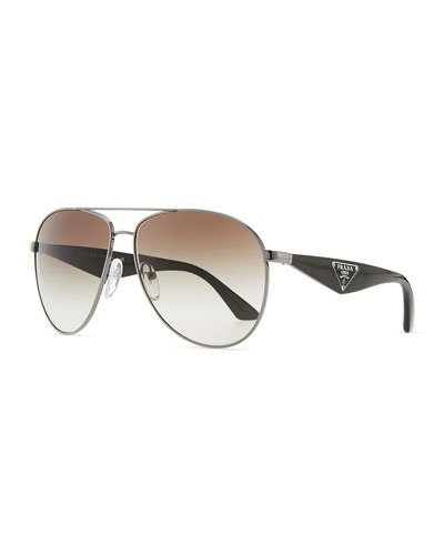 Prada Double Bar Aviator Sunglasses, Gunmetal/Black