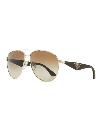 Prada Double Bar Aviator Sunglasses, Light Gold/Black
