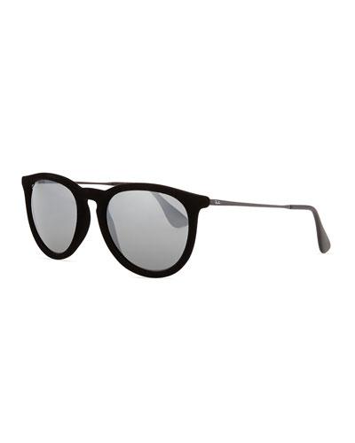 Ray-Ban Erika Round Plastic Sunglasses, Black