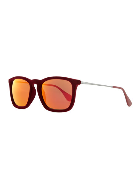 Erika Velvet Edition Sunglasses, Burgundy Red