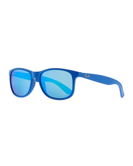 Plastic Square Sunglasses with Mirrored Lens, Blue