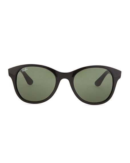 Round Acetate Sunglasses, Black/Green