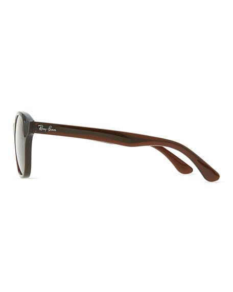 Round Acetate Sunglasses, Brown/Amber