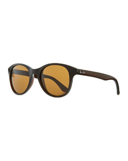 Ray-Ban Round Acetate Sunglasses, Brown/Amber