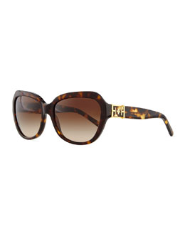 Tory Burch Plastic Cat-Eye Sunglasses, Dark Tortoise