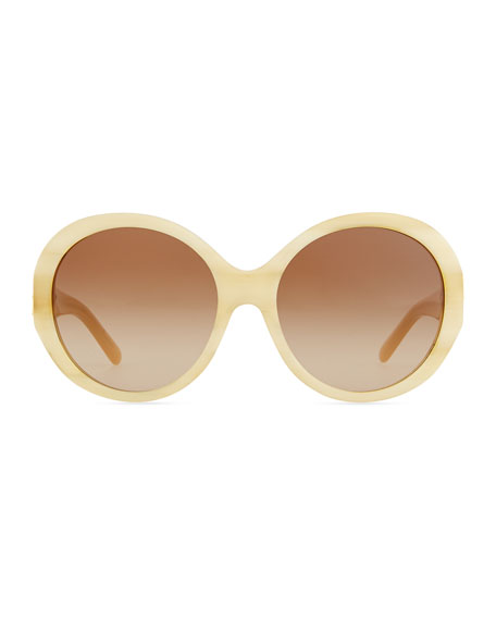 Plastic Rounded Cat-Eye Sunglasses, Tortoise White