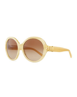 Tory Burch Plastic Rounded Cat-Eye Sunglasses, Tortoise White