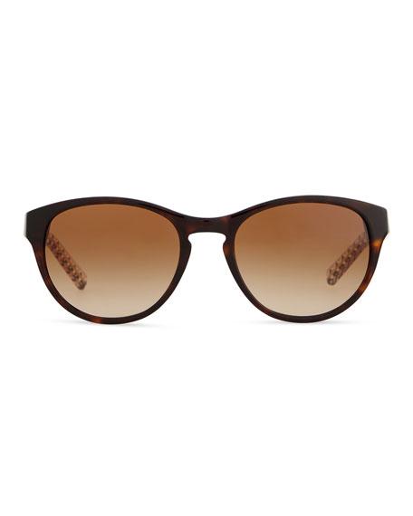 Plastic Cat-Eye Sunglasses with Logo Arms, Dark Tortoise