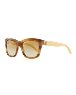 Tory Burch Two-Tone Plastic Square Sunglasses, Tortoise