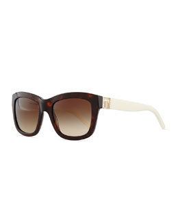 Tory Burch Two-Tone Plastic Square Sunglasses, Tortoise/White