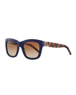 Tory Burch Two-Tone Plastic Square Sunglasses, Navy