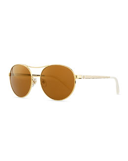 Tory Burch Metal Round Aviator Sunglasses with Logo Arms, Gold/White
