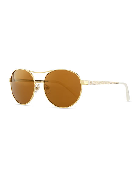 Metal Round Aviator Sunglasses with Logo Arms, Gold/White