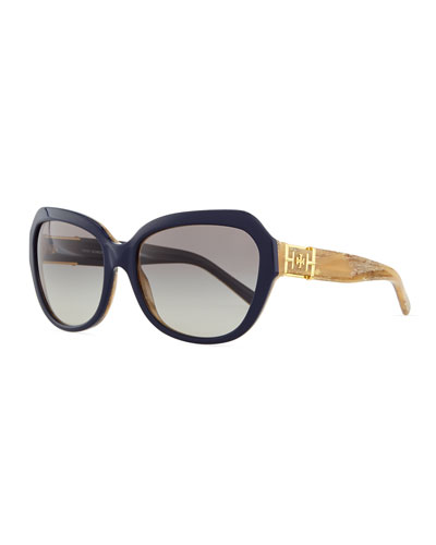 8df1760a0c9 Tory Burch Two-Tone Plastic Cat-Eye Sunglasses