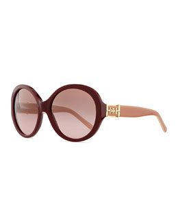 Tory Burch Plastic Rounded Cat-Eye Sunglasses, Bordeaux