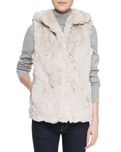 Jocelyn Hooded Rabbit Fur Vest, Blush