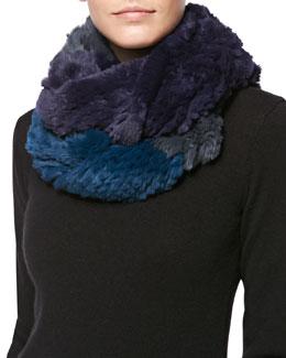 Jocelyn Colorblock Rabbit Fur Infinity Scarf, Iron/Fig/Spruce