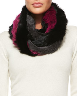 Jocelyn Rabbit Fur Infinity Scarf, Gray/Pink