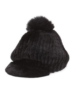 Fur Pompom Cap, Black