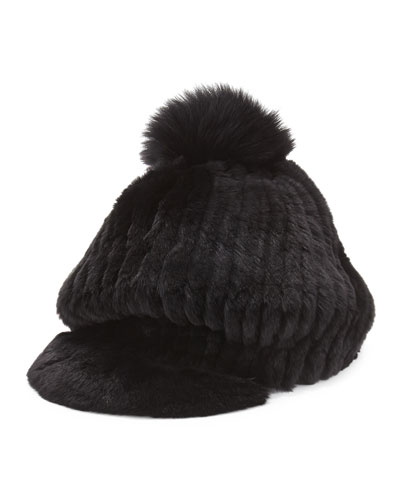 Jocelyn Fur Pompom Cap, Black