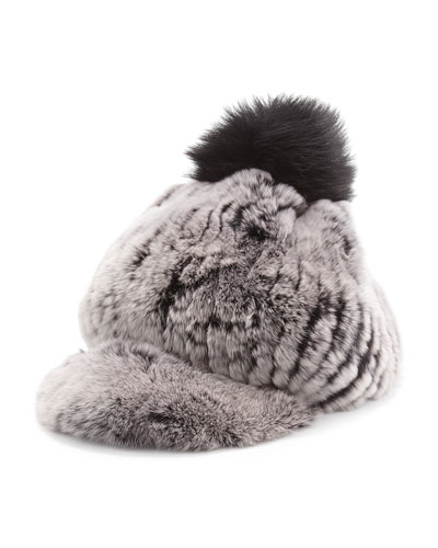 Jocelyn Fur Pompom Cap, Cement
