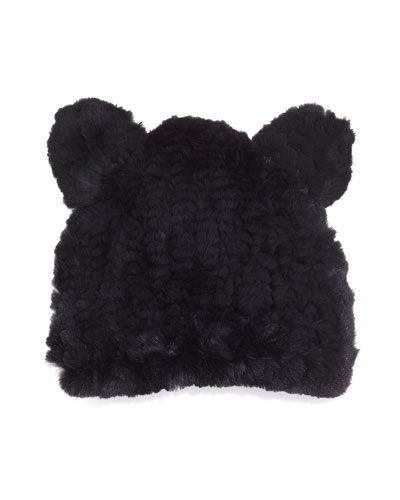 Jocelyn Fur Knit Hat With Ears, Black