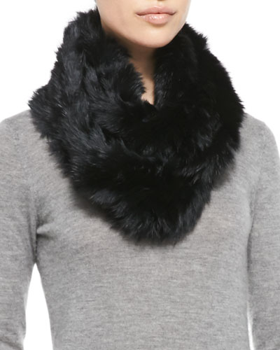 Jocelyn Rabbit Fur Infinity Scarf, Black