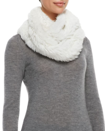 Jocelyn Rabbit Fur Infinity Scarf, Ivory