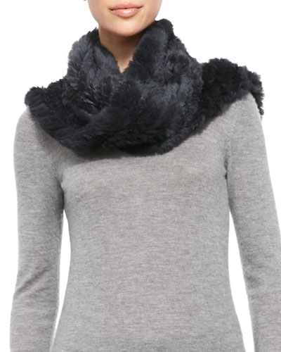 Jocelyn Rabbit Fur Infinity Scarf, Charcoal