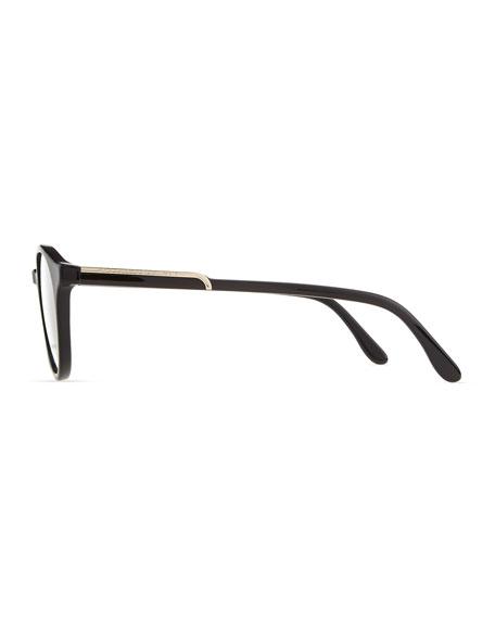 Round Acetate Fashion Glasses, Black