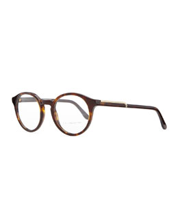 Stella McCartney Round Acetate Fashion Glasses, Dark Tortoise