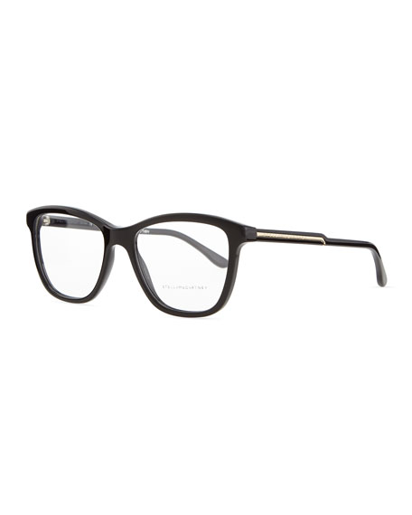 Square Acetate Fashion Glasses, Black