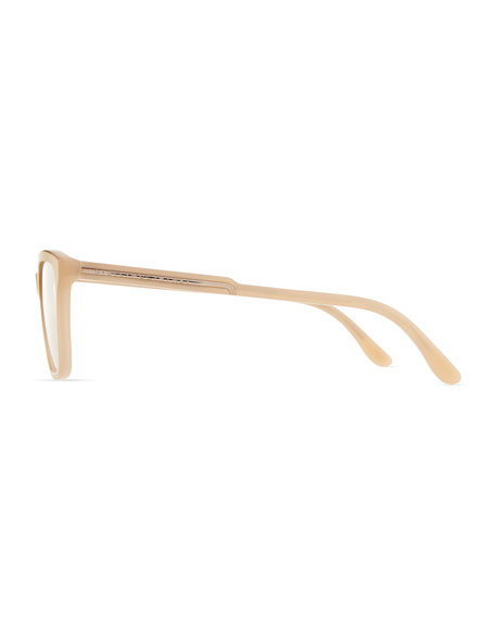 Square Acetate Fashion Glasses, Nude