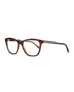 Stella McCartney Square Acetate Fashion Glasses, Dark Tortoise