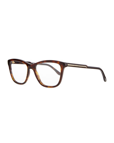 Square Acetate Fashion Glasses, Dark Tortoise