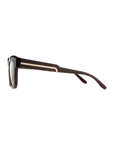Thick Square Acetate Fashion Glasses, Dark Tortoise