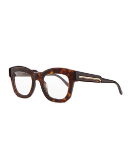 Stella McCartney Thick Square Acetate Fashion Glasses, Dark Tortoise