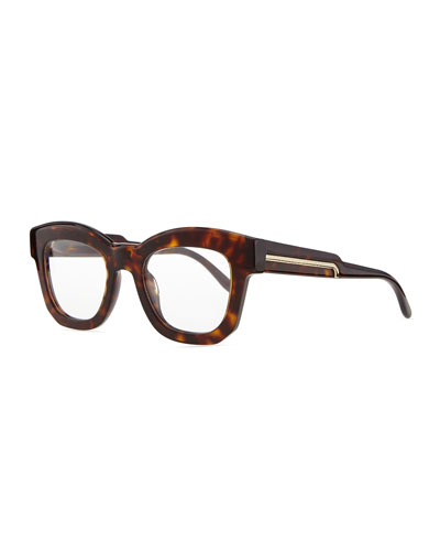 Thick Square Acetate Fashion Glasses, Dark Tortoise