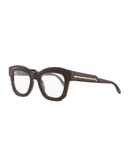 Stella McCartney Thick Square Acetate Fashion Glasses, Brown