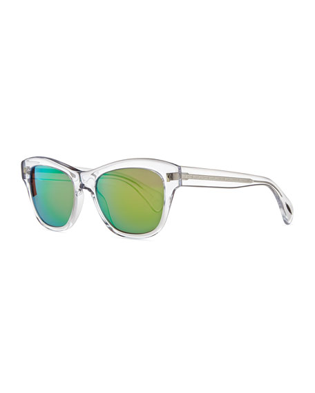 Oliver PeoplesSofee 53mm Polarized Sunglasses, Clear/Mirror Green